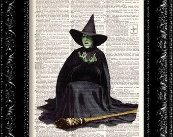 Wizard Of Oz Wicked Witch Print, wicked witch Of The West, Dictionary Print, Vintage Book art, Upcycled Art