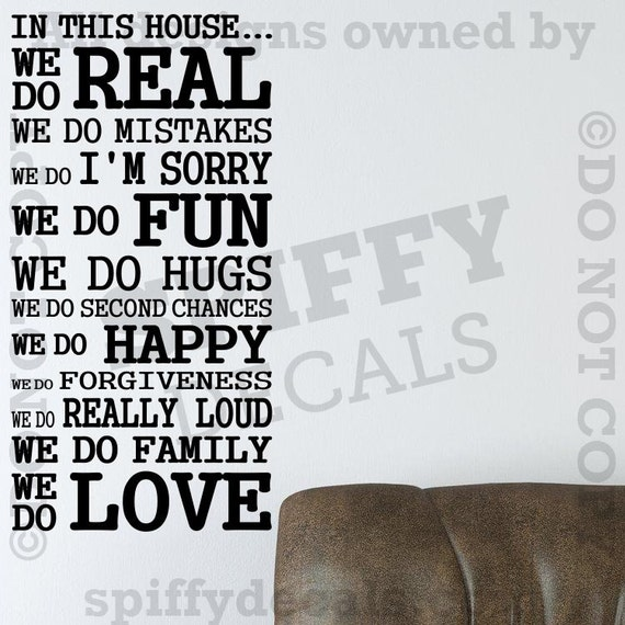 In This House We Do Love Play Fun Forgive Family Hugs Vinyl Wall Decal Sticker Decor
