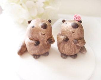 Custom Wedding Cake Toppers - Cute Beaver