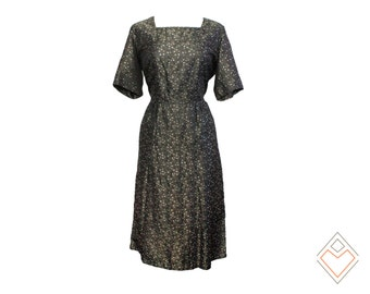 1960s Gunmetal metallic taffeta vintage dress with floral brocade pattern // size L - XL