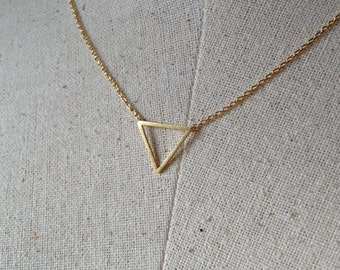 Gold Triangle Necklace, 18k Gold, Dainty Necklace