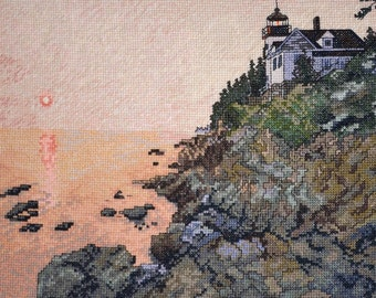 Bass Harbor Lighthouse Finished Completed Cross Stitch Handmade