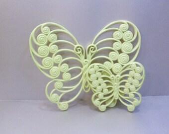 Vintage Upycled Butterflies Key Lime Green Nursery Garden Decor