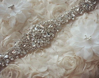 crystal bridal Sash applique, rhinestone bridal Applique, Bridal Applique, rhinestone wedding belt