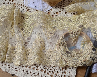 Gold Lace Trim, Antique golden lace fabric trim