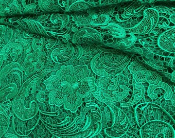 kelly green lace fabric, crochet fabric lace for wedding dress, bridal dress , wedding gown