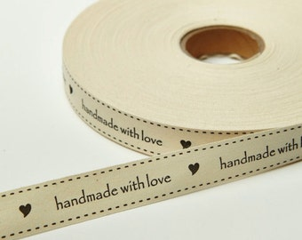 Ivory Canvas Ribbon DIY by the yard Handmade With Love 3/4 Inch Printed For dolls hair, craft ribbon