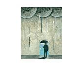 PRINT 8x10    LUCKY Man Umbrella abstract rain    by Elizabeth Rosen