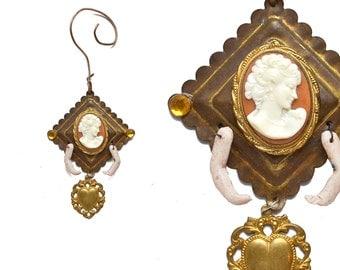 love ornament, vintage cameo, mixed media assemblage art doll ornament, original by Elizabeth Rosen