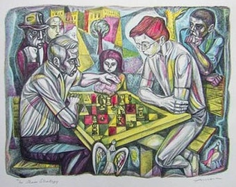Irving Amen Signed Color Lithograph - Chess Strategy - Limited Edition - Chess Player Gift - Wall Art
