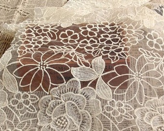 ivory organza lace fabric, retro floral lace, embroidered lace fabric, vintage peony floral lace fabric