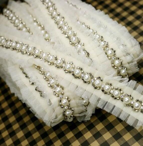 Beaded trim rhinestone trim bridal sash trim by for Wedding dress trim beading
