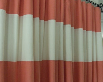 Horizontal Stripes Curtain Panels Coral and Cream Fully Lined any color choice