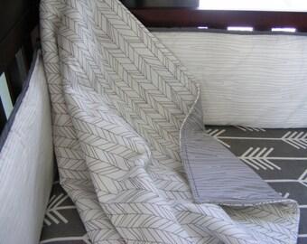 Grey White, Baby Bedding, Crib Set,  Modern, Minimalist,Woodland, Monochromatic, Woodgrain, Arrows,  White Grey Set / 4 piece set