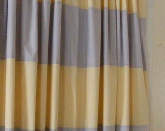 Baby bedding drapery nursery curtain panels grey and pale yellow fully