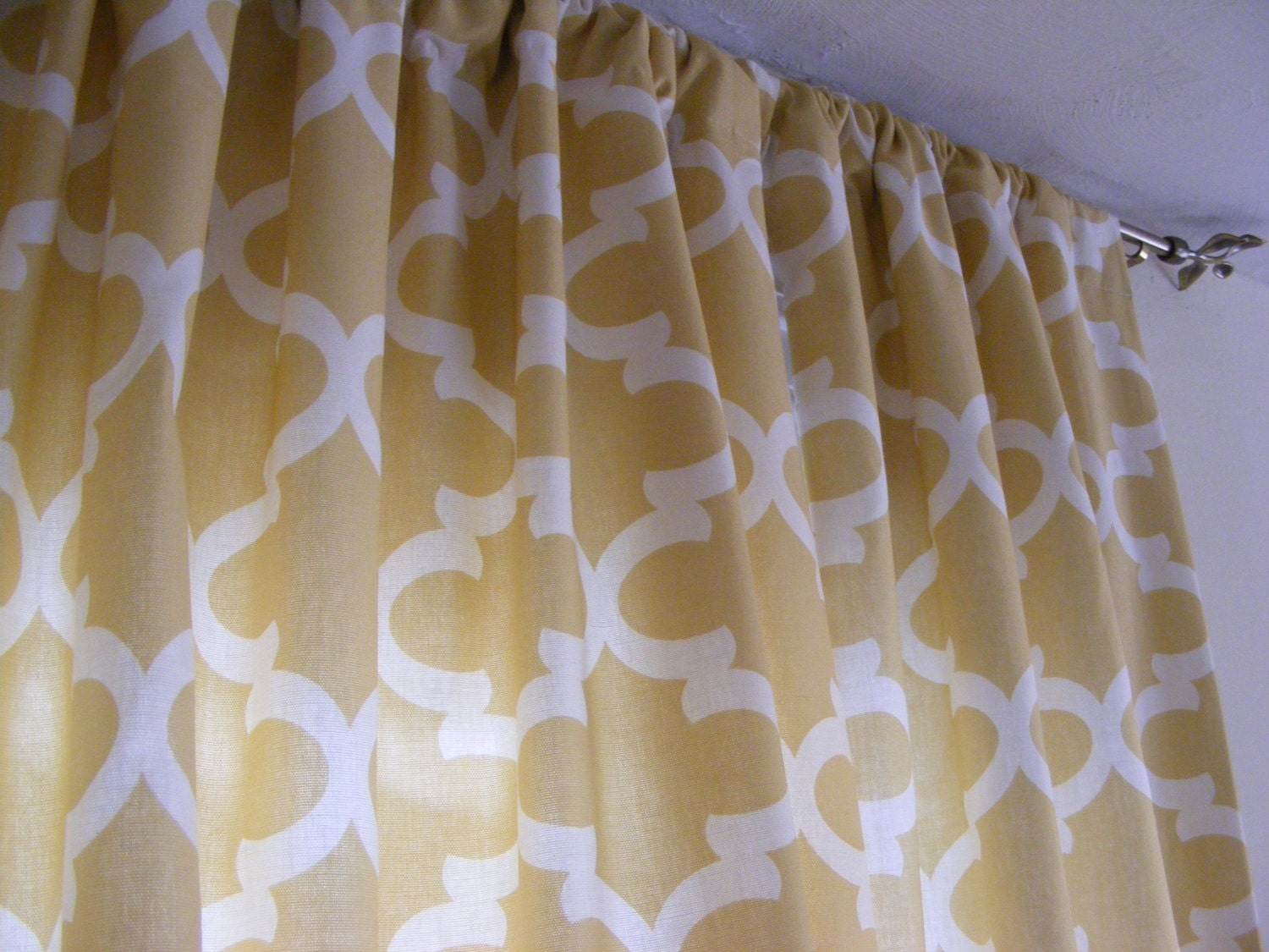 saffron yellow and grey curtain panels by thepincushionstore. Black Bedroom Furniture Sets. Home Design Ideas