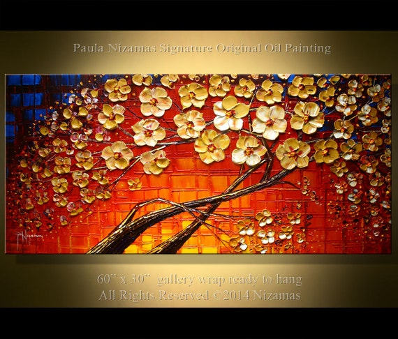 "60"" x 30"" Blooming Tree original  Painting, Abstract Painting - Oil Painting , Original and Handmade Art , By Paula Nizamas"