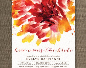 Red Watercolor Bridal Shower Invitation Lace Shabby Chic Abstract Flower Wedding Invite Bloom Printable Digital or Printed - Evelyn Style