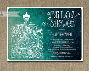 Teal Ombre Bridal Shower Invitation Gown Sketch Rustic Turquoise Aqua Wedding Invite Printable FREE PRIORITY SHIPPING or DiY Printable - Kim