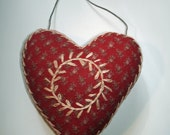Embroidered Heart Ornament in Vintage Red Calico - Folk Art Valentine -Upcycled