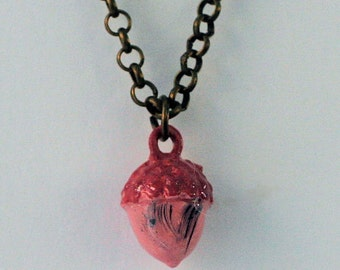 Peter Pan's Kiss for Wendy Acorn Necklace in Hand Painted Metal and Brass - Pink