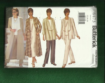 Butterick 6473 Flowing Duster with Long Wide Collar Straight Dress Top & Pants Sizes 12.14.16. UNCUT