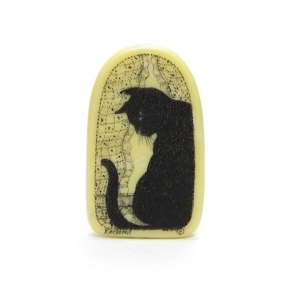 Scrimshaw cat brooch vintage black kitty by browneyedrosevintage