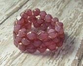 Pink Opal 10x8mm Bead Czech Glass Bicone Copper Carved BLUSH (6)