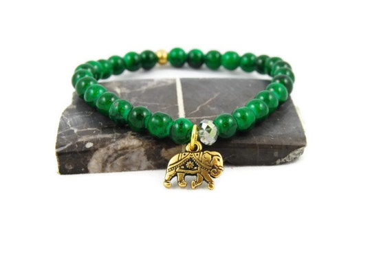 Elephant Bracelet, Tierracast, Gold, Green