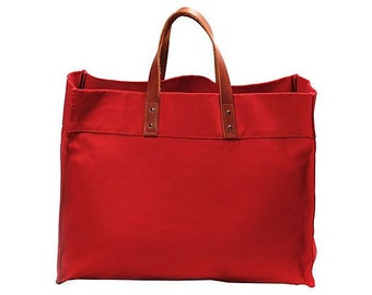Monogrammed Canvas Tote, Personalized Tote Bag, Red Tote Bag, Monogrammed Tote, Teacher Bag