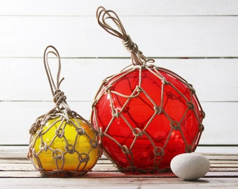 Beach Decor SET Big Red and Small Yellow Fishing Float by SEASTYLE