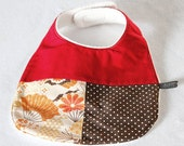 Baby bib - Japanese fans, red, brown  - ltd edition (UK seller)