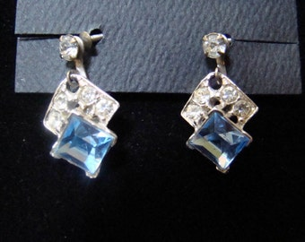Earrings Vintage Cornflower Blue Rhinestone