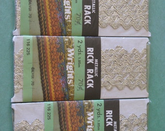 Vintage SILVER Metallic Rick Rack Trim Wright's 3 New Packages Dated 1980