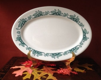 Vintage Used Caribe China Puerto Rico U.S.A. Restaurant Side Plate with Teal Leaf Border