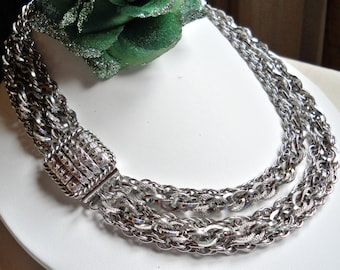 Corocraft 5 Strand Silver Tone Chain Necklace Vintage Signed