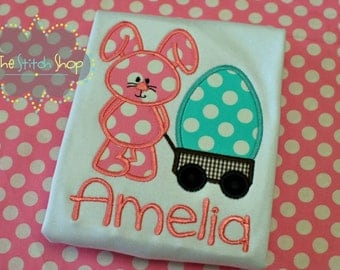 Easter Bunny Egg Wagon Appliqued and Monogrammed Shirt