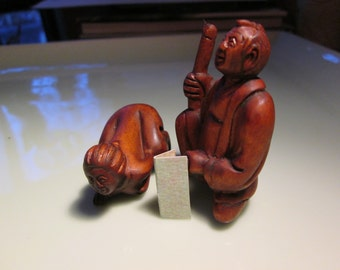 netsuke, naughty couple in the moment! hand carved see pics after first  2 pieces each figure is 2 inches tall