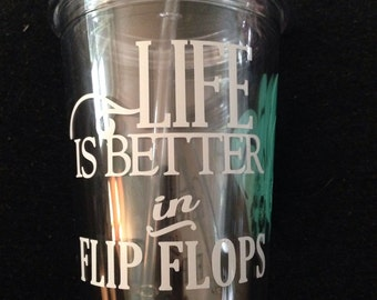 Summer Tumbler|flip flop acrylic tumbler|water bottle|personalized cup