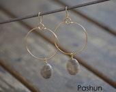 Seashell Jewelry ... Brown Boho Hoop Earrings (1103)