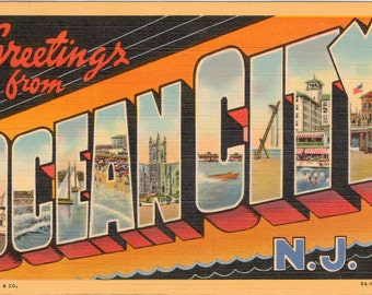 Linen Postcard, Greetings from Ocean City, New Jersey, Large Letter, 1946