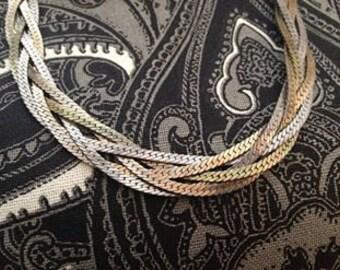 Vintage Multicolor Braided Metal Necklace.