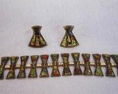 Vintage Enamel Bracelet and Earrings