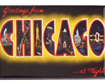 Greetings from Chicago at Night Fridge Magnet (2 x 3 inches)