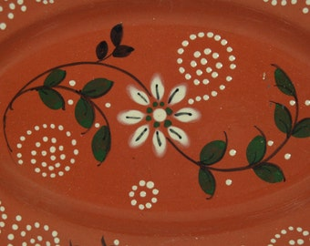 Mexican Pottery Oval Serving Platter, White Daisies, Housewares, Collectible Pottery