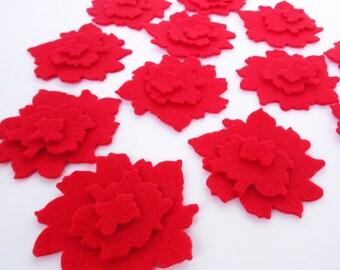 Felt Flower RED I, set of 36 pieces, Red felt flowers, Die Cut Shapes, Applique, Confetti, Party Supply, DIY Wedding