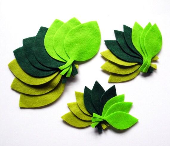Felt Leaves 3 GREEN, 27 pieces, Die Cut Shapes, felt shapes, Party Supply, DIY Wedding, Scrap supply