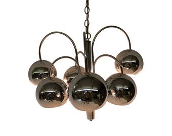 Mid Century Modern vintage, Chrome balls ceiling light, hanging lamp, chandelier by Kovacs