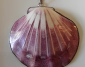 Huge Sterling Silver Purple Shell Pendant, Oversized Charm