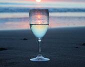 Sunset Wine Photograph Beautiful Relaxing Scenery Wine Lovers Wedding Gift Beach Setting Vacation Photo Home Decor
